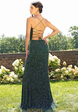 Style 3235 Primavera Green Size 2 Sheer Fitted Side slit Dress on Queenly