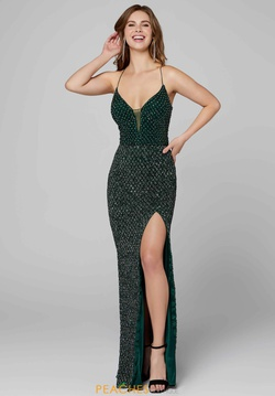 Queenly size 2 Primavera Green Side slit evening gown/formal dress