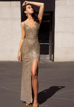 Style 3422 Primavera Gold Size 8 Spaghetti Strap Tall Height Side slit Dress on Queenly