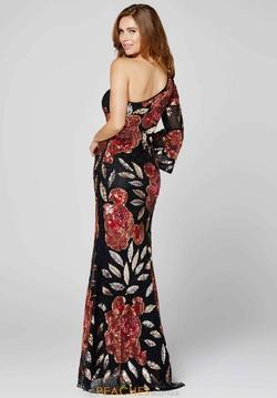 Style 3449 Primavera Black Size 6 Long Sleeve Custom Side slit Dress on Queenly