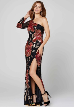 Queenly size 6 Primavera Black Side slit evening gown/formal dress