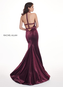 Style 6436 Rachel Allan Red Size 10 Pageant Halter Backless Tall Height Mermaid Dress on Queenly