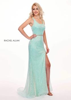 Queenly size 10 Rachel Allan Green Side slit evening gown/formal dress