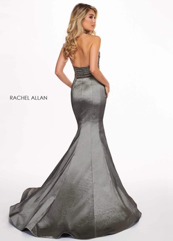 Style 6511 Rachel Allan Silver Size 4 Halter Backless Tall Height Mermaid Dress on Queenly