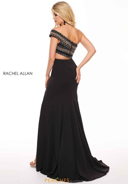 Style 6525 Rachel Allan Black Size 6 Two Piece Cut Out Pageant Side slit Dress on Queenly