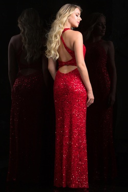 Style 48690 Scala Red Size 4 Backless Tall Height Side slit Dress on Queenly