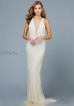 Queenly size 8 Scala White Train evening gown/formal dress