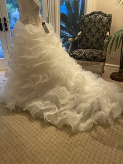 Justin Alexander White Size 12 Ruffles Wedding Train Ball gown on Queenly