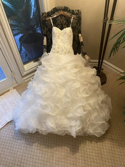 Queenly size 12 Justin Alexander White Ball gown evening gown/formal dress
