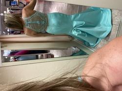 Mori Lee Blue Size 12 Halter Mermaid Dress on Queenly