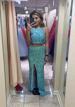 Queenly size 10 Primavera Blue Straight evening gown/formal dress