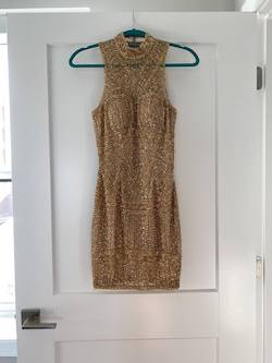 Queenly size 00 Sherri Hill Gold Cocktail evening gown/formal dress