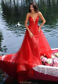 Queenly size 4 Tarik Ediz Red Train evening gown/formal dress