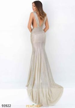 Style 93922 Tarik Ediz Gold Size 6 Backless Plunge Side slit Dress on Queenly