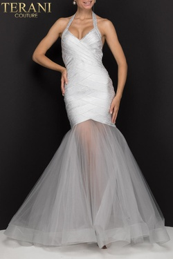 Style 2011P1147 Terani Couture Silver Size 10 Halter Sheer Tall Height Mermaid Dress on Queenly