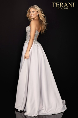 Style 2011P1197 Terani Couture Silver Size 16 Embroidery Pockets Silk Ball gown on Queenly