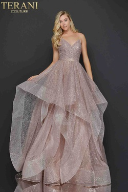Style 2011P1214 Terani Couture Gold Size 8 Jewelled Tulle Tall Height Ball gown on Queenly