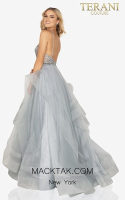 Style 2011P1222 Terani Couture Silver Size 6 Halter Ball gown on Queenly