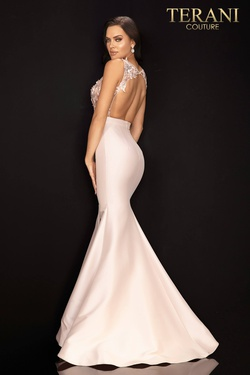 Style 2011P1467 Terani Couture Light Pink Size 8 Jersey Silk Mermaid Dress on Queenly
