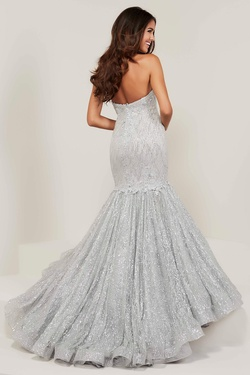 Style 16343 Tiffany Designs Silver Size 20 Plus Size Lace Mermaid Dress on Queenly