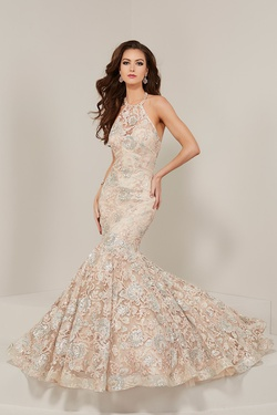 Style 16366 Tiffany Designs Pink Size 4 Halter Sequin Mermaid Dress on Queenly