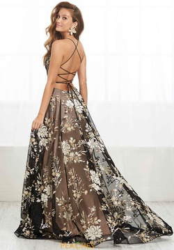 Style 16392 Tiffany Designs Multicolor Size 6 Print Floral Spaghetti Strap Side slit Dress on Queenly
