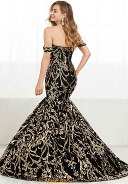 Style 16394 Tiffany Designs Black Size 8 Floral Pageant Tall Height Mermaid Dress on Queenly