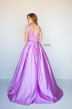 Style 7816 Vienna Purple Size 00 Backless Prom Two Piece Ball gown on Queenly
