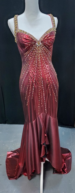 Queenly size 6 Party Time Formals Red Train evening gown/formal dress