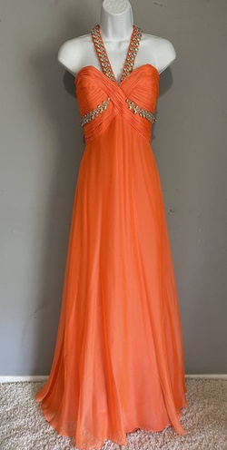 Queenly size 8 Riva Design Orange A-line evening gown/formal dress