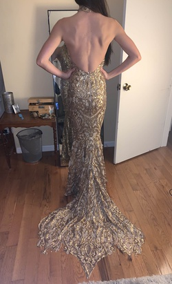 Debbie Carroll Gold Size 2 Sequin Train Prom Halter Backless Mermaid Dress on Queenly