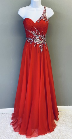 Queenly size 10 Precious Formals Red Train evening gown/formal dress