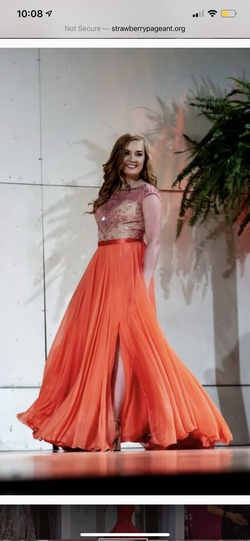 Queenly size 6  Orange A-line evening gown/formal dress