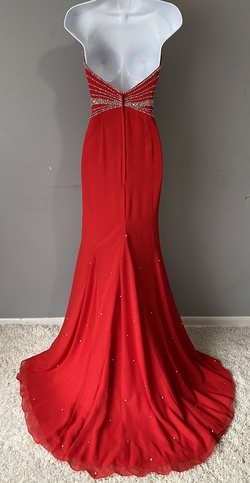 Crown Collection Red Size 6 Side Slit Train Straight Dress on Queenly