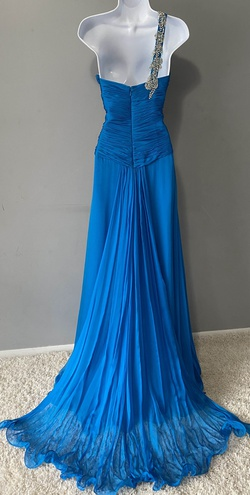 Mac Duggal Blue Size 6 Tulle Macduggal Train A-line Dress on Queenly
