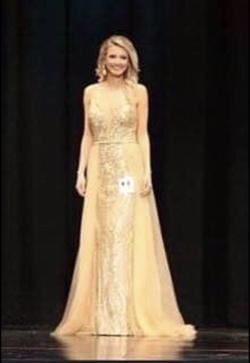 Queenly size 2 Jovani Gold A-line evening gown/formal dress
