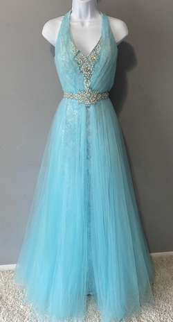 Queenly size 12 Mac Duggal Blue Ball gown evening gown/formal dress