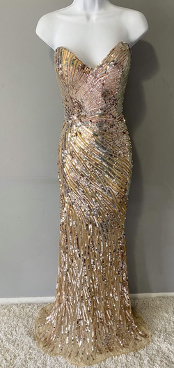 Queenly size 6 Mac Duggal Gold Straight evening gown/formal dress