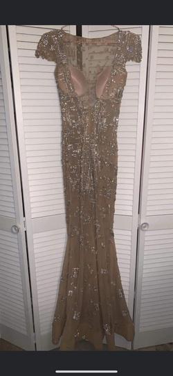Jovani Nude Size 2 Cap Sleeve Custom Jewelled Sheer Sequin Straight Dress on Queenly