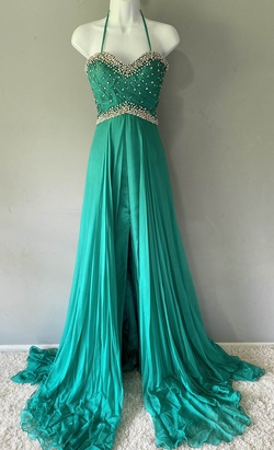 Queenly size 8 Mac Duggal Green Train evening gown/formal dress