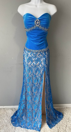 Queenly size 14 Prima Donna Blue Side slit evening gown/formal dress