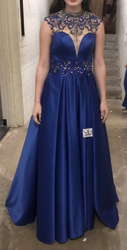 Queenly size 6 Tiffany Designs Blue A-line evening gown/formal dress