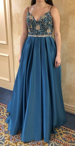 Vienna Multicolor Size 4 Teal Sequin Silk A-line Dress on Queenly