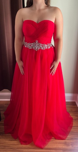 Queenly size 12  Red Ball gown evening gown/formal dress