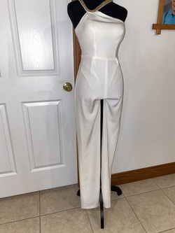 Queenly size 0  White Jumpsuit evening gown/formal dress