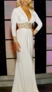 Mac Duggal White Size 4 Macduggal Tall Height V Neck Straight Dress on Queenly