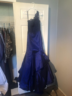 Mori Lee Blue Size 6 Flare Mermaid Dress on Queenly