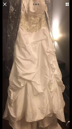 Davids Bridal White Size 12 Strapless Plus Size Train Dress on Queenly