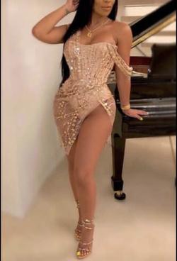 Gold Size 8 Side slit Dress on Queenly