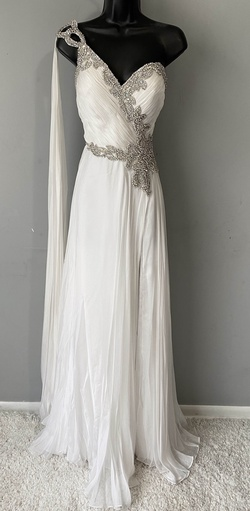 Queenly size 2  White Side slit evening gown/formal dress